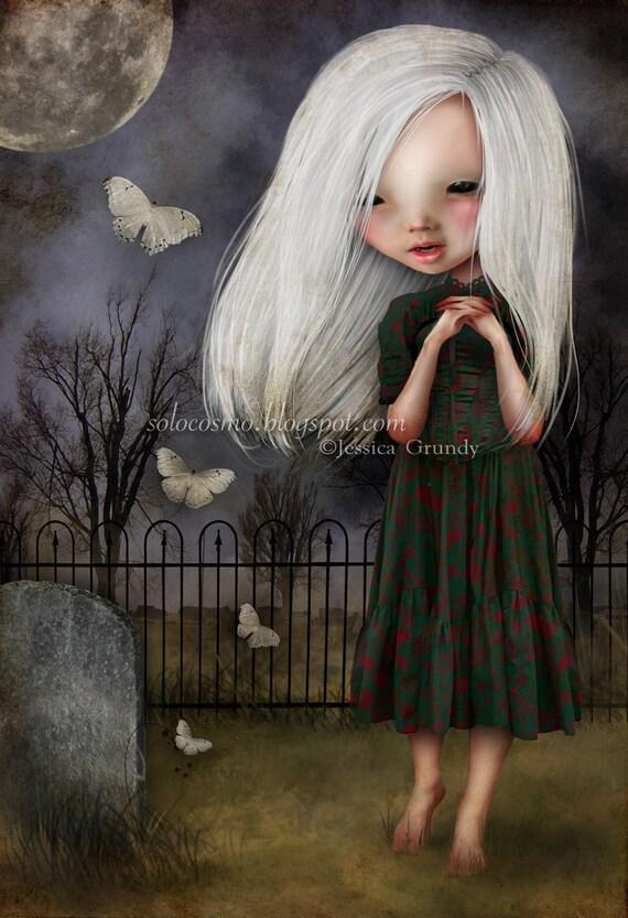 Little Girl Art Print 'Pelottava' - Little Girl in Graveyard - 8.5x11 or 8x10 Medium Sized Fine Art Print - Vampire Child