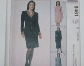 McCalls 9461 Size 10, 12, 14 Lined Coatdress, Lined Jacket, and Skirt Pattern UNCUT