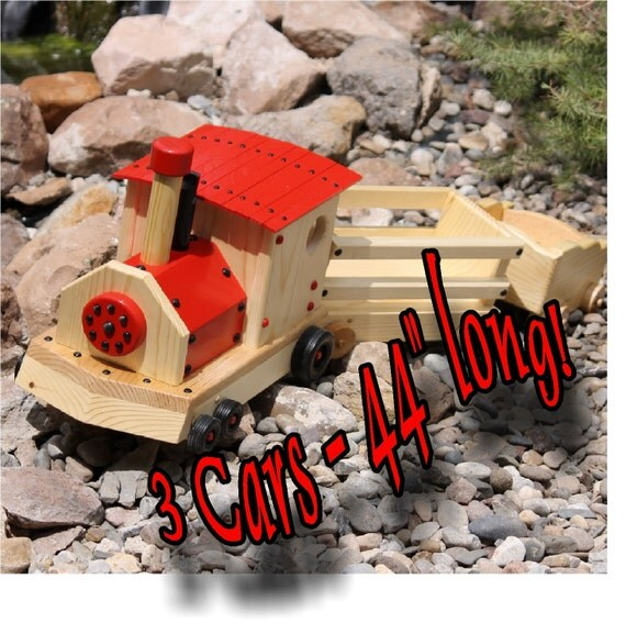 "Wooden Toy Train - 44"" Train- Engine plus 2 cars Riding Toy"