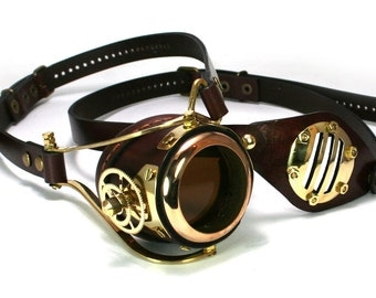 STEAMPUNK MONOGOGGLE and EYEPATCH  brown leather polished brass gears Flex Solid Frame O