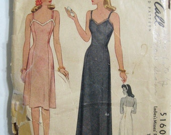 Vintage Full Slip 1940's Pattern McCalls 5160, Fitted Bodice, 2 Lengths Day Dress & Maxi Formal Evening Gown, WWII 1943 Dated, Bust 32