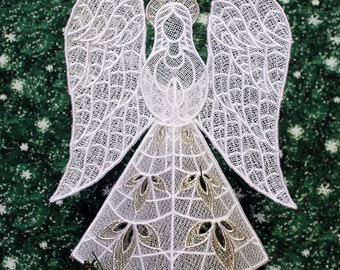 Silver Trimmed Heather Lace Angel Tree Topper