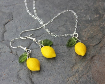 Lemon Grove Necklace and Earring Set - cute bright yellow glass lemons and tiny green glass leaves on sterling silver -Free Shipping USA