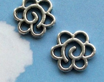 40 swirly floral connectors or charms, six holes,  shiny silver tone, 14mm, SALE