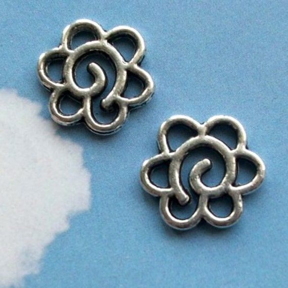 20 swirly floral connectors or charms, six holes,  shiny silver tone, 14mm, SALE