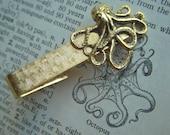 Gold Octopus Tie Clip Vintage Textured Tie Clip Nautical Steampunk Tie Clip Men's Accessories Men's Tie Clips Men's Gifts