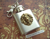 Mini Flask Keychain Brass Lion on 1 Oz  Miniature Size Gothic Victorian Steampunk Style From Cosmic Firefly
