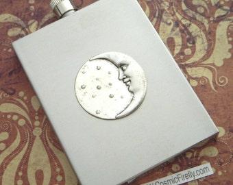Celestial Moon Silver Flask Vintage Inspired Astronomical Steampunk Women's & Men's Gift Art Deco Rectangular Square Edges Stainless Steel