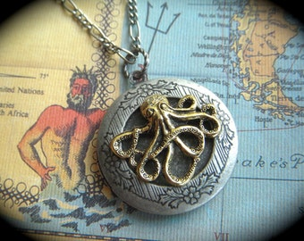 Octopus Locket Necklace Octopus Necklace Primitive Finish Round Locket Steampunk Necklace Silver & Gold