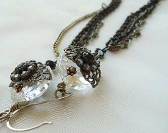 Drop Earrings Vintage Inspired Elegant Crystal Antiqued Filigree Handmade Earrings