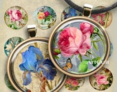 1 inch (25mm) and 1.5 inch size Printable images AGED FLOWER CIRCLES Digital Collage Sheet for glass or resin pendants bezel trays, magnets