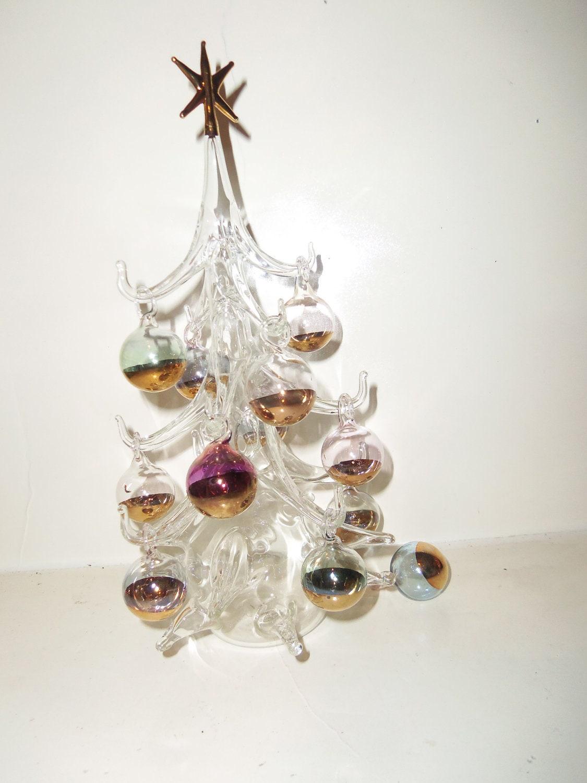 Italian blown glass christmas tree w ornaments murano parise