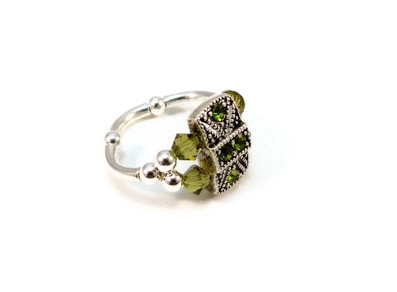 Olivine Green Swarovski Cocktail Ring Crystals Stretch Band Ladies