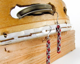 Red Long Byzantine - Chainmaille Earrings