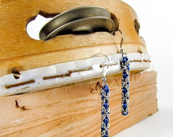 Blue Long Byzantine - Chainmaille Earrings