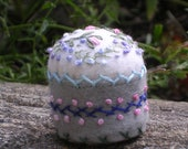 Little stitched garden pincushion, recycled bottle cap, grey and white