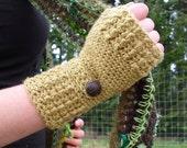 Crochet Pattern for Hemp Wool Ribbed Fingerless Mitts 2 in 1 Pattern