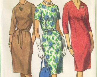 Jewel Neckline Vintage 1960s Sewing Pattern Slim Sheath Dress Simplicity 6281 Plus Size 16.5  Bust 37
