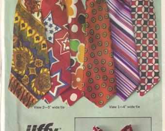 Necktie Sewing Pattern Mens Jiffy Simplicity 9400 Mod Neck Tie and Bowtie Vintage 1970s Uncut Factory Folds