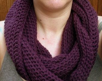 SALE, Crochet Cowl Snood neckwarmer scarf in deep purple, ready to ship.