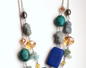 Blue chunky long necklace, convertible to statement necklace