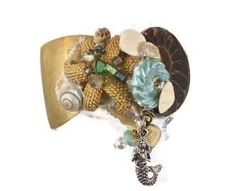 Mermaid Bracelet, Cuff Bracelet, Real Ammonite, Vintage Collage, Assemblage, OOAK Unique, Boho Statement, Bohemian, Sea Ocean, Mixed Media