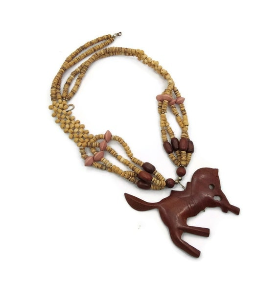 Horse Necklace -  Vintage Carved wood, Woven beads, Big & Bold Statement  - Boho Hippie Tribal -  InVintageHeaven