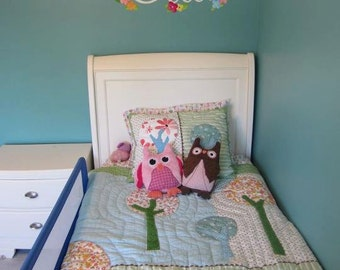Fabric WALL NAME DECALS Owls Love Birdies Girls Bedroom Baby Nursery Wall Name Decal