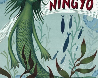 Ningyo - Legendary Japanese Mermaid Fish Person - Archival Print 8.5x11