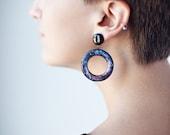 Blue galaxy earrings - Space earrings - Blue universe earrings - Blue nebula earrings - Space jewelry - Blue earrings (E109)