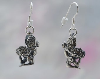 Flying Faerie Earrings in Sterling Silver