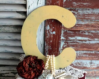 Letter C Initial C Vintage Metal Sign by avintageobsession on etsy