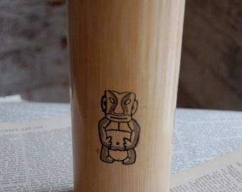 Set of Four Wooden Tiki Glasses