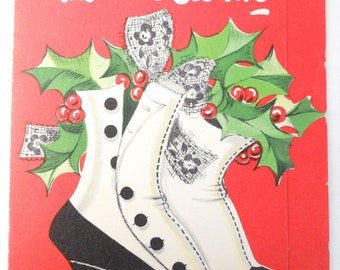 1950s Christmas Kitsch- greeting card LACE UP BOOTS