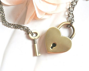 Brass Heart Shape Lock Necklace. Usable Lock with Key