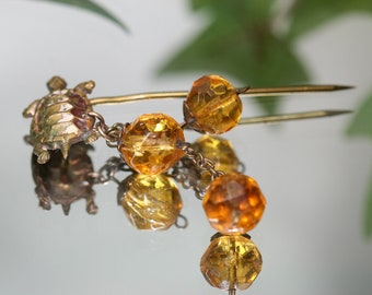 Vintage Stickpin - Turtle with golden crystal beads