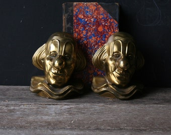 Vintage Brass Clown Bookends Bronze 1960s From Nowvintage on Etsy