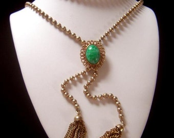 "Vintage Avon Bolo Slide Necklace ""Ming Green"" Book Piece"
