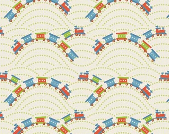 Scoot Cream Trains by Deena Rutter for Riley Blake Designs