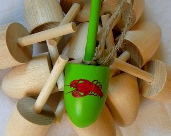 wedding favor beach coastal nautical Maine Lobster Buoy green mini with red Lobster hand painted, Gift, Memento