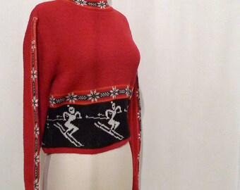 Little Skier Red Ski Sweater/ Cropped Fit NonWool Sweater/ Snowflake Pattern 80s Crop Top/ Women / Men SALE