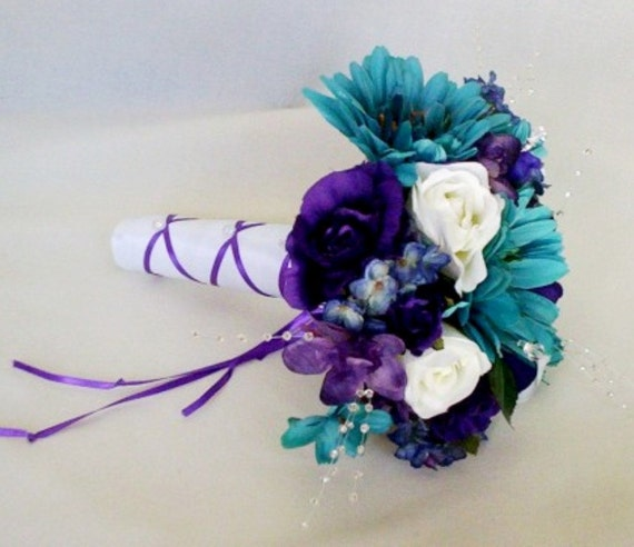 Teal And Purple Wedding Flowers: Items Similar To Teal Wedding Accessories Bouquet Purple
