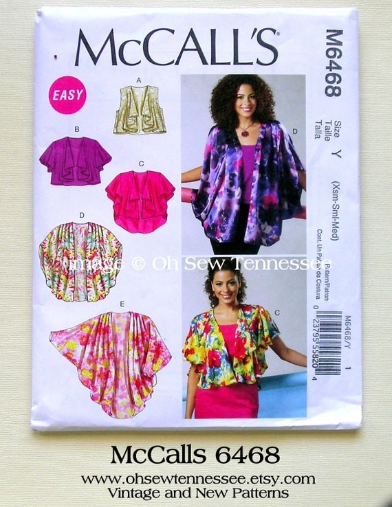 Rapturous Shrugs Cocoons and Wraps for Ladies - McCalls 6468 - New Sewing Pattern, Misses Sizes: X-small (4-6); Small (8-10) Medium (12-14)