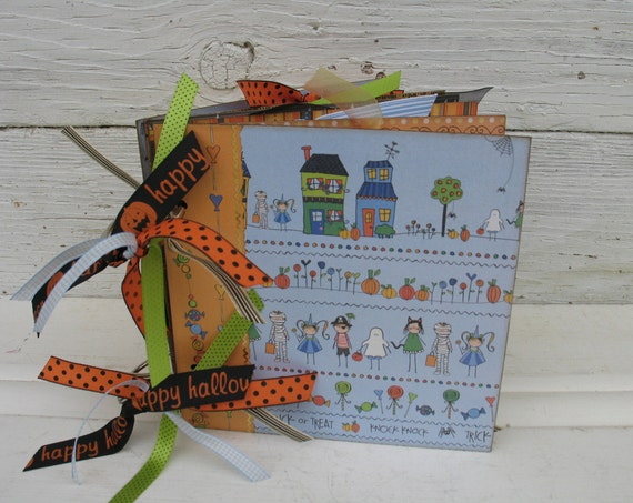 RESERVED for Kristen ------- HALLOWEEN Scrapbook Album 6x6 Chipboard Memory Book Ready to SHIP