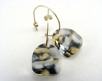Pebble Half Hoop Earrings, Small Dangle Earrings Perspex Jewelry Handmade