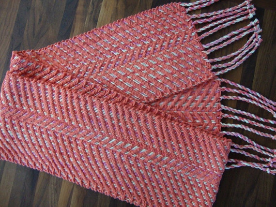 Handwoven Coral, Pink and White Chevron Scarf