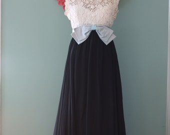 Vintage White Lace and Black Long Dress with Large Blue Bowl