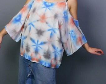 SAMPLE SALE***hand dyed blue and orange shibori silk blouse
