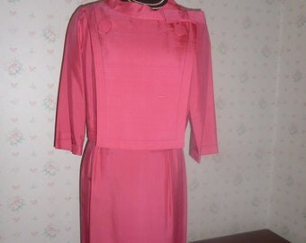CLEARANCE Knockout Anita Modes Mid Century Hot Pink Jacket Dress, XS (Today's Size 2 or 4)