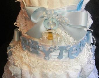 Peyton -  Personalized Diaper Cake, 3 Tier, Boy Diaper Cake, Girl Diaper Cake, Baby Shower Cake, Personalized Baby Gift